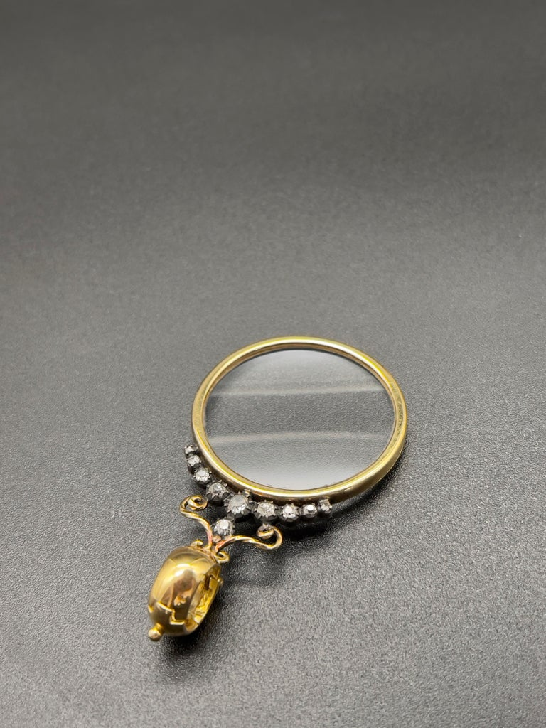 Victorian Monocle Magnifying Glass Diamonds Gold Pendant Necklace  In New Condition For Sale In Viana do Castelo, PT