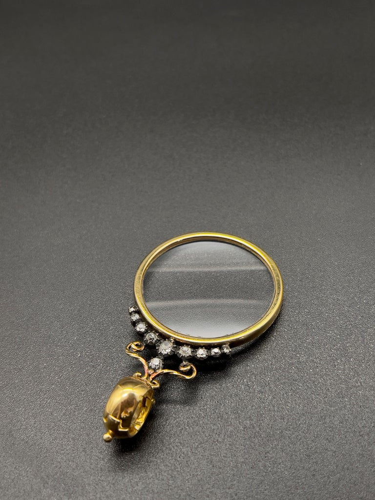 Victorian Monocle Magnifying Glass Diamonds Gold Pendant Necklace  For Sale 3