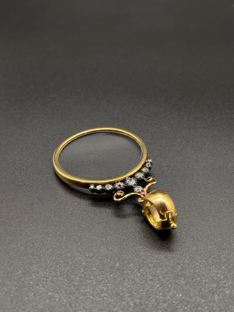 Women's or Men's Victorian Monocle Magnifying Glass Diamonds Gold Pendant Necklace  For Sale