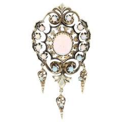 Victorian Revival Opal Pendant, 18 Karat Gold October Birthstone 3.62 Carat