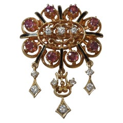Victorian Revival Ruby and Diamond Pin Pendant