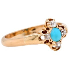 Victorian Revival Turquoise Diamond 14 Karat Gold Ring