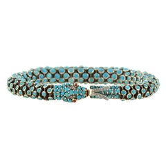 Victorian Revival Turquoise, Diamond, Ruby Articulated Snake Bracelet