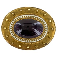 Victorian Rhodolite Garnet Enamel 18 Karat Yellow Gold Antique Brooch Pin