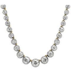 Antique Victorian Riviere, Single Strand Old European Cut Diamond Necklace/Tiara