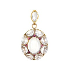Victorian Rock Crystal and Gold Pendant Locket with Ruby Accents