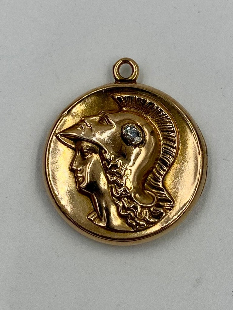 Victorian Roman Warrior Diamond Locket Necklace Old Mine 14 Karat Gold Classical For Sale 2