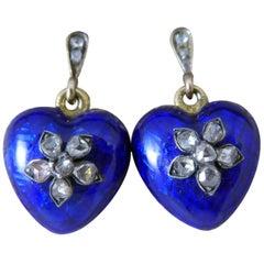 Victorian Rose Cut and  Blue Enamel Drop Earrings, Heart Shaped with Locket Back