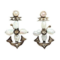 Victorian Rose Cut Diamond Anchor Hope Earrings Pearl Gold Gorgeous Antique