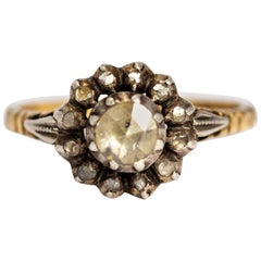 Victorian Rose Cut Diamond and 18 Carat Gold Cluster Ring