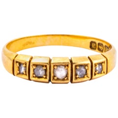 Victorian Rose Cut Diamond and 18 Carat Gold Five-Stone Band