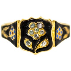 Victorian Rose Cut Diamond and Enamel 18 Carat Gold Mourning Ring