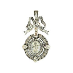 Victorian Rose Cut Diamond Bow Dangle 18 Karat Rose Gold Pendant Brooch