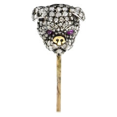 Victorian Rose Cut Diamond Dog Silver-Topped 10 Karat Gold Bulldog Stickpin