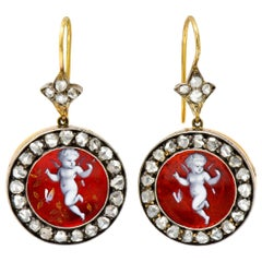 Victorian Rose Cut Diamond Enamel 18 Karat Gold Silver Cherub Drop Earrings