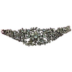 Victorian Rose Cut Diamond Floral Bracelet