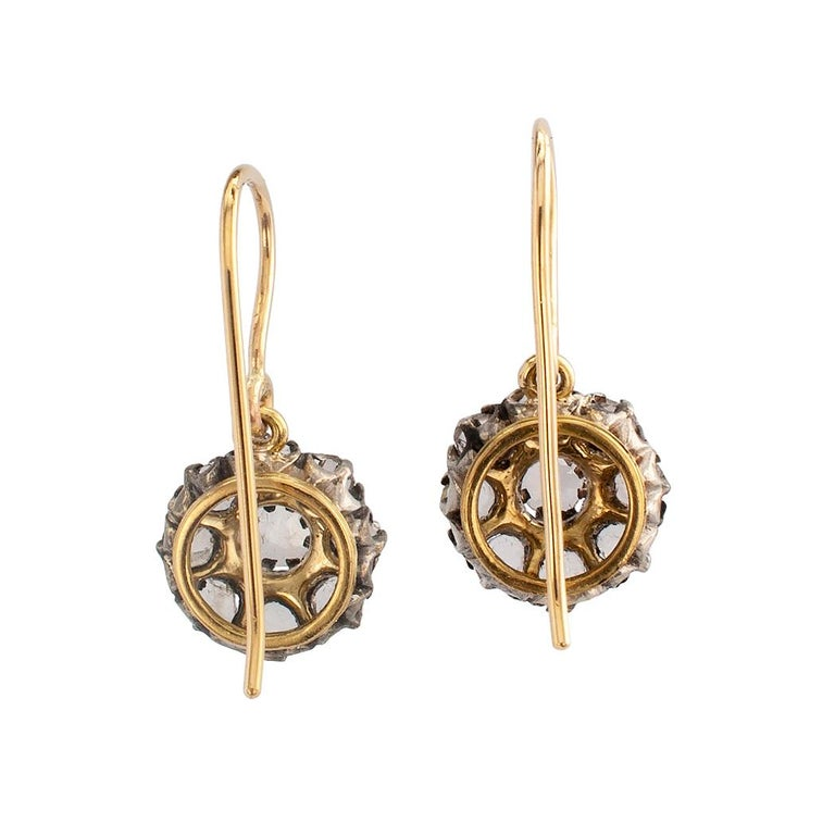 Victorian Rose Cut Diamond Gold Silver Drop Earrings In Good Condition For Sale In Los Angeles, CA
