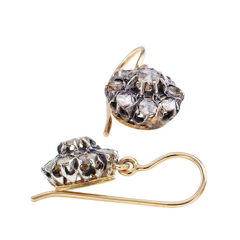 Women's Victorian Rose Cut Diamond Gold Silver Drop Earrings For Sale