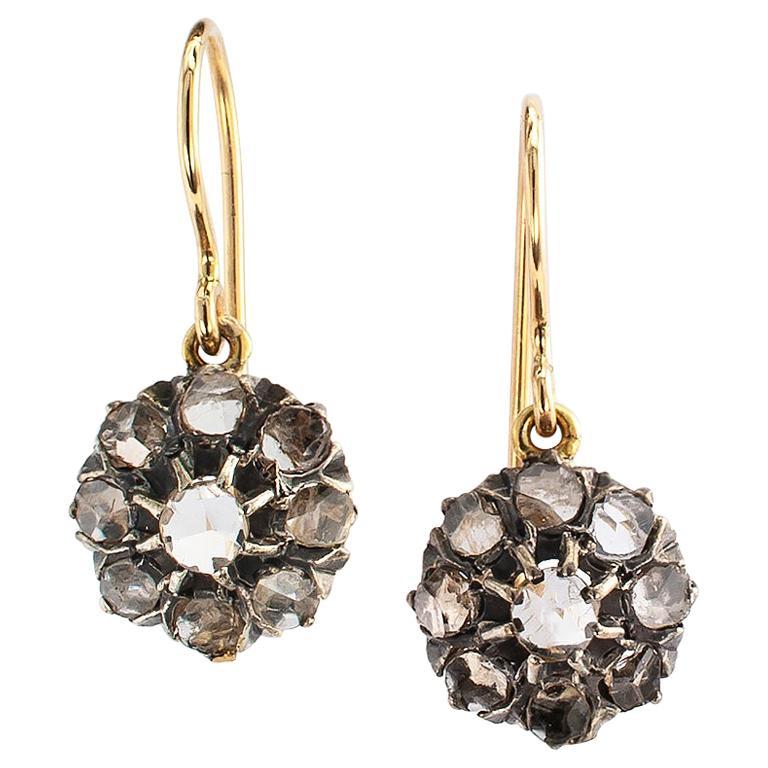 Victorian Rose Cut Diamond Gold Silver Drop Earrings For Sale