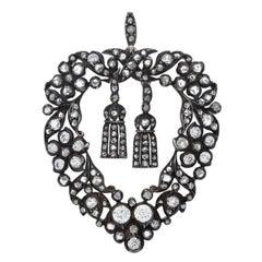 Victorian Rose Cut Diamond Heart and Tassel Pendant