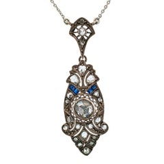 Victorian Rose Cut Diamond Lavaliere Necklace
