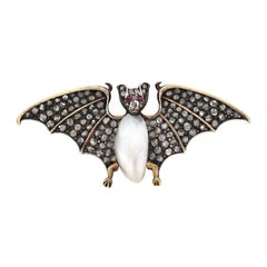 Victorian Rose Cut Diamond Natural Pearl and Ruby Bat Pin