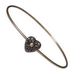Victorian Rose Cut Diamond Pearl Love Heart Bracelet Bangle