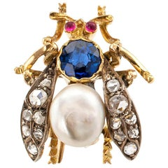 Victorian Rose Cut Diamond Pearl Ruby Sapphire Gold Silver Bee Brooch