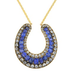 Victorian Rose Cut Diamond Sapphire Horseshoe Pendant Necklace