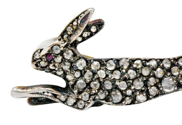 Women's or Men's Victorian Rose Cut Diamond Silver-Topped Leaping Rabbit Hare Brooch