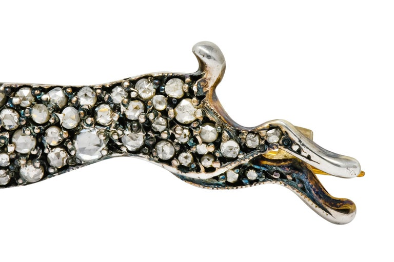 Victorian Rose Cut Diamond Silver-Topped Leaping Rabbit Hare Brooch 1
