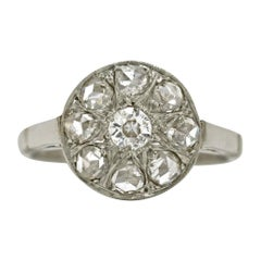 Victorian Rose Cut Diamonds 8 Platinum Antique Cluster Target Engagement Ring