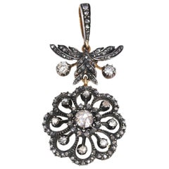 Victorian Rose-Cut Diamonds Flower Pendant, 1890