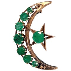 Victorian Rose Gold and Emerald Moon and Star Crescent Pendant