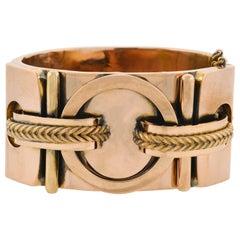 Victorian Rose Gold Double Buckle Bangle Bracelet