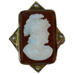 Victorian Rose Gold Hardstone Pearl Cameo Ring of Male Warrior