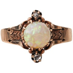 Victorian Rose Gold Opal Ring with Rose Cut Diamond Accents, Etched Design