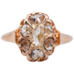 Victorian Rosecut Diamond 14 Karat Rose Gold .45 Carat Cluster Engagement Ring