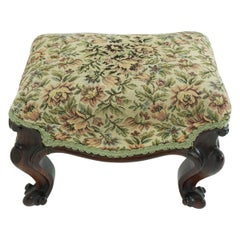 Victorian Rosewood Foot Stool, Bench, Upholstered Top, Scotland 1860 1810