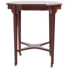 Victorian Rosewood Inlaid English Octagonal Tea Table, 1890