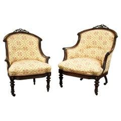 Victorian Rosewood Ladies and Gentleman Armchairs
