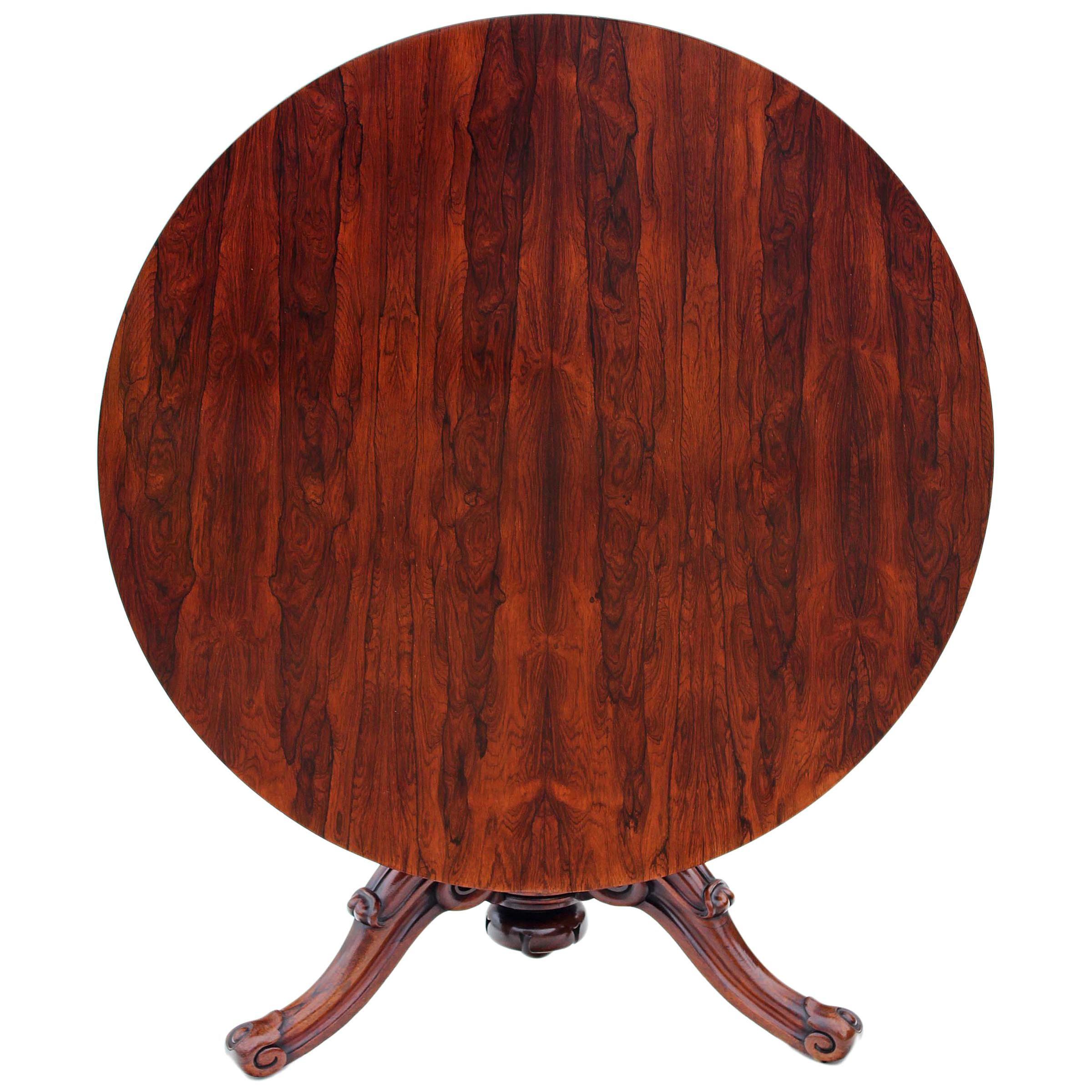 Victorian Rosewood Loo Breakfast Centre Table Tilt Top