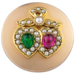 Victorian Round Gold Brooch with Gem-Set Twin Heart Motif