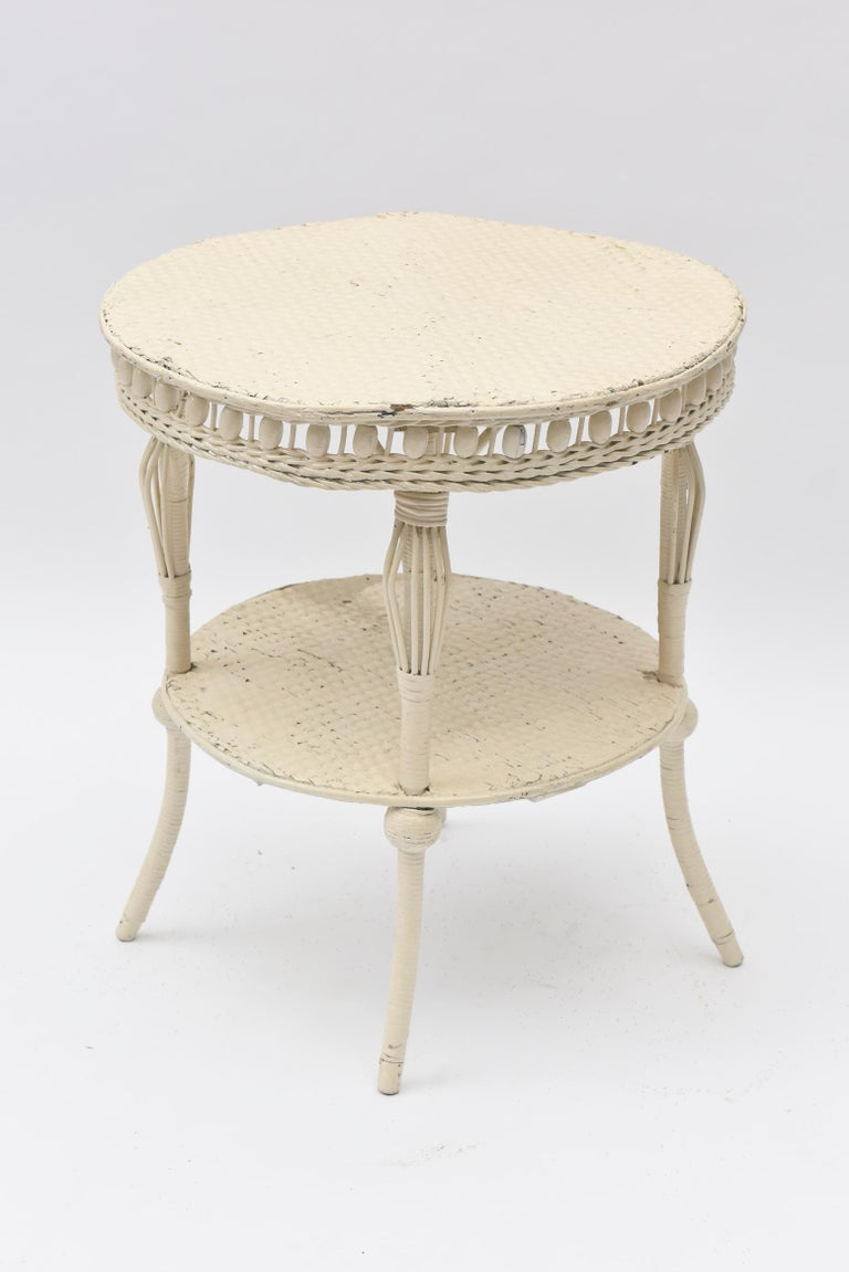 American Victorian Round Wicker Two Tier Side Table by Heywood-Wakefield Co. For Sale