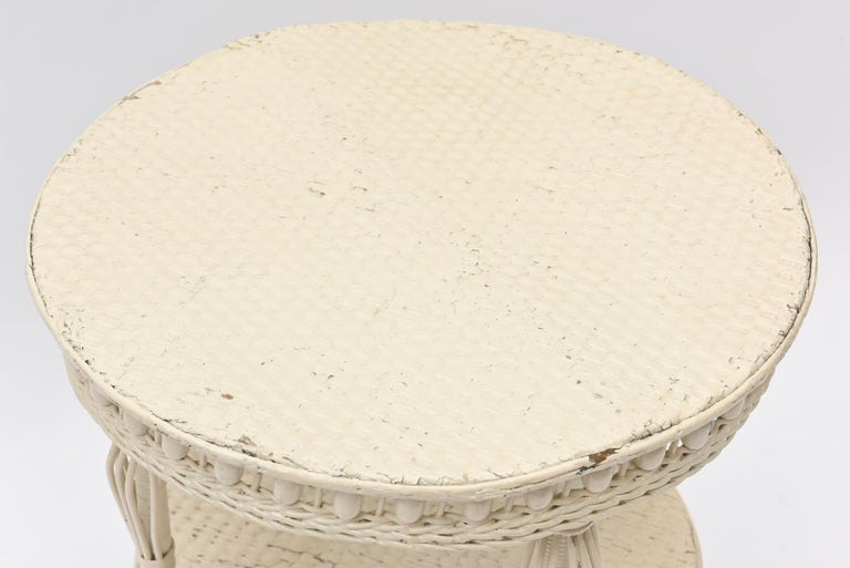 Beaded Victorian Round Wicker Two Tier Side Table by Heywood-Wakefield Co. For Sale