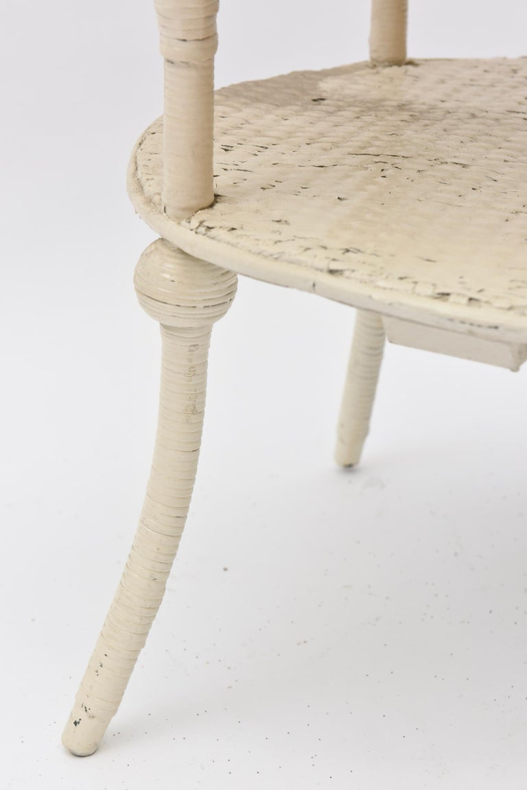 Late 19th Century Victorian Round Wicker Two Tier Side Table by Heywood-Wakefield Co. For Sale