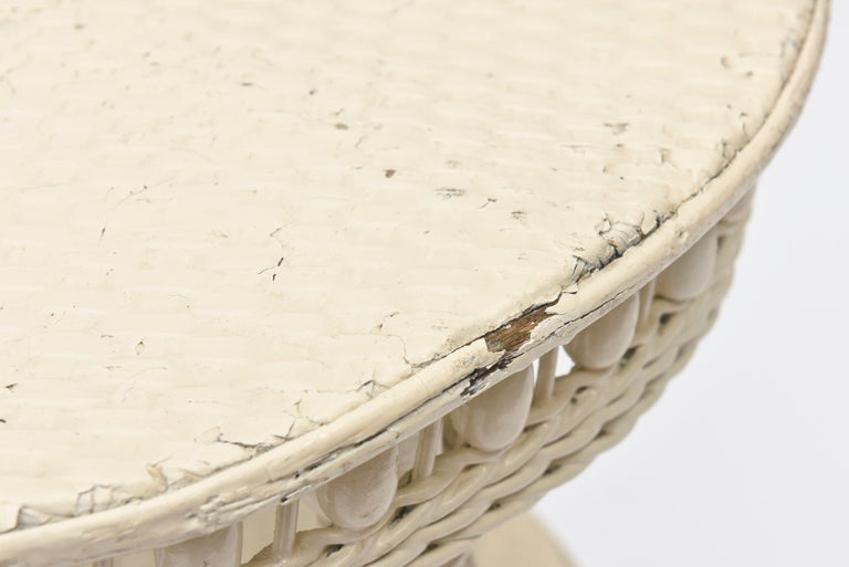 Victorian Round Wicker Two Tier Side Table by Heywood-Wakefield Co. For Sale 1