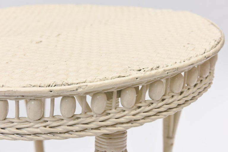 Victorian Round Wicker Two Tier Side Table by Heywood-Wakefield Co. For Sale 2