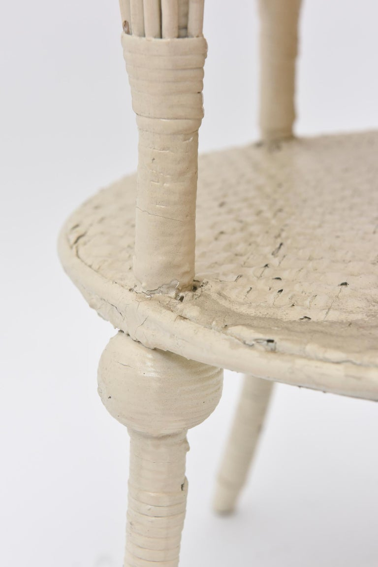 Victorian Round Wicker Two Tier Side Table by Heywood-Wakefield Co. For Sale 3