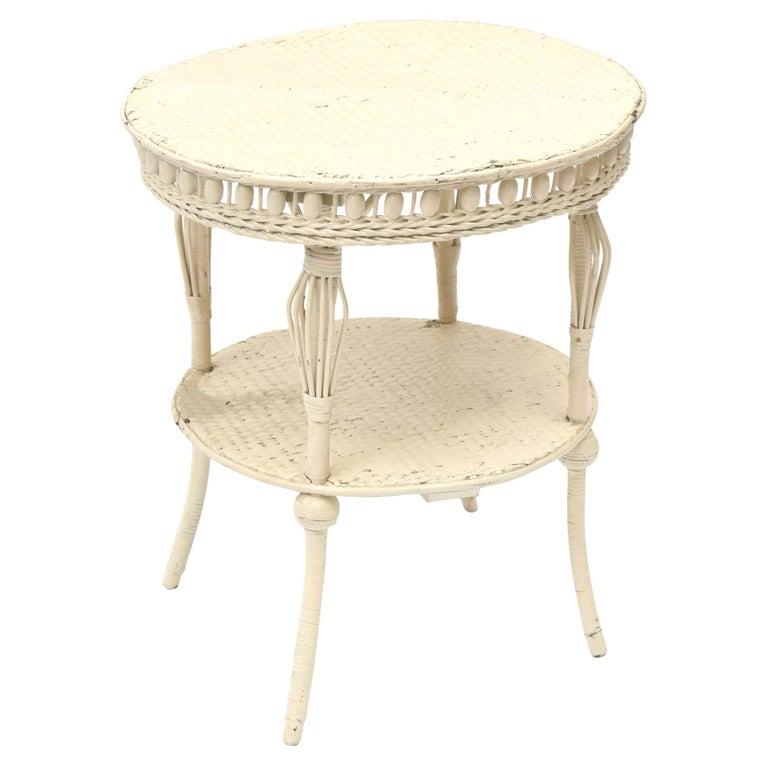 Victorian Round Wicker Two Tier Side Table by Heywood-Wakefield Co. For Sale
